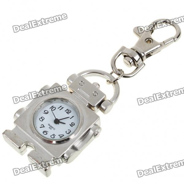Cute Robot Style Quartz Watch with Keychain - Silver (1 x 377)