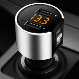 Car Bluetooth Hands-free Kit w/ FM Transmitter, Cigarette Lighter Dual USB Charger, Battery Voltage Detection, U Disk MP3 Player