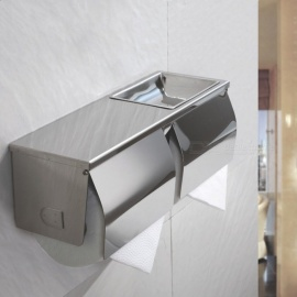 SUS304 Stainless Steel Extra Bathroom Toilet Paper Tissue Double Roll Holder Dispenser with Phone Wet Wipe Shelf Wall Mount
