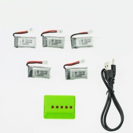 5Pcs 3.7V 260mAh H8 Lithium Polymer High Power Li-po Battery with 5 in 1 Charger for Syma X8C X8W RC Quadcopter - Silver