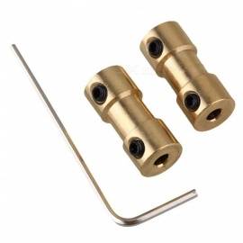 BTOOMET 2pcs 3mm-3mm Golden Brass Shaft Coupling Coupler Motor Transmission Connectors