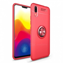 ZHAOYAO Soft TPU Protective Back Case Cover with Ring Stand for Vivo X21 Mobile Phone - Red