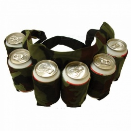 Outdoor Climbing Camping Hiking 6 Pack Holster, Portable Waist Beer Belt Bag, Handy Wine Bottle Beverage Can Holder Black