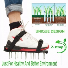 Grass Spiked Gardening Walking Revitalizing Lawn Aerator Sandals Shoes Garden Cultivator Plastic Button 1 Pair (Black)