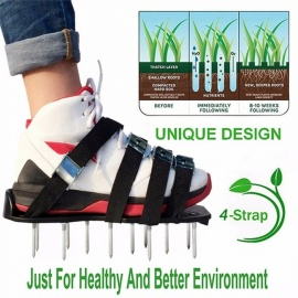 Grass Spiked Gardening Walking Revitalizing Lawn Aerator Sandals Shoes Garden Cultivator 1 Pair (Green)