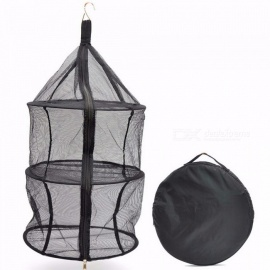 Camping Dry Net Portable Folding 3 Layer Hanging Mesh Foods Dish Outdoor BBQ Picnic Bag Rack Shelf Storage Basket Black