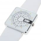 Unique Digital Turntable Style Water Resistant Quartz Wrist Watch - White (1 x SR626)