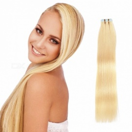 20Pcs 100% Real Thick Clip In Hair Extension Frosted Hairpiece Mix Human Hair Extensions Color 613# #613/16 inches/20 pcs
