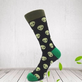 4 Pairs Random Color Socks Funny With Cartoon Animal Bomb Design Crew Cotton Breathable Neutral Socks 40-46 Size Multi