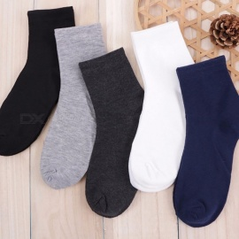 5 Pairs Men Socks Solid Color Casual Comfort Mens Sock Breathable Deodorant High Quality Crew Cotton Socks 42-44 Size Multi