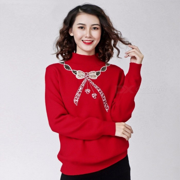 07e8112f10074d Autumn Winter Christmas Pullover Women Sweater Turtleneck Loose Long Sleeve  Rabbit Hair Knitted Sweaters Tops For Womens Red/One Size