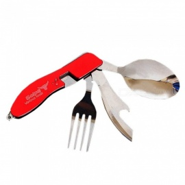 Multi-function Outdoor Camping Picnic Tableware Stainless Steel 3 In 1 Folding Spoon Fork Knife Opener Set Red