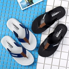 LURAD Flip Flops For Men Beach Flat Sandals Open Toe Outdoor Casual Mens Sandals Men Slippers Black/39