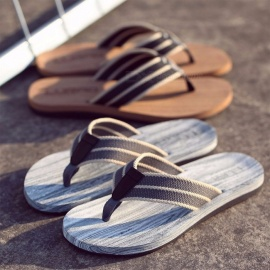 Men\'s Summer Outdoor Slippers Comfortable Beach Wooden Printed Woven Flip Flops For Men L139AM Black/39