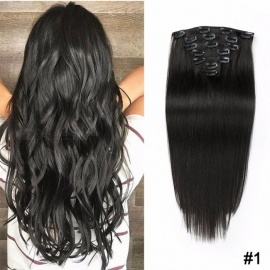 Machine Made Straight Clips In Human Hair Extensions 7Pcs/Set 70g Full Head Set #1/16 inches