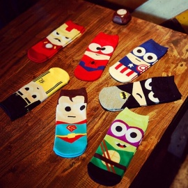 High Quality Super Hero Cartoon Mens Casual Ankle Cotton Socks Men Cotton Happy Art Boat Socks Random Color 7 Pairs Multi