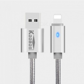KOOBOS Aluminum Alloy 8Pin Lightning Charging Data Cable For IPHONE, 2.1A USB Cable With Indicator 2M 1.2M Gold/1.2M