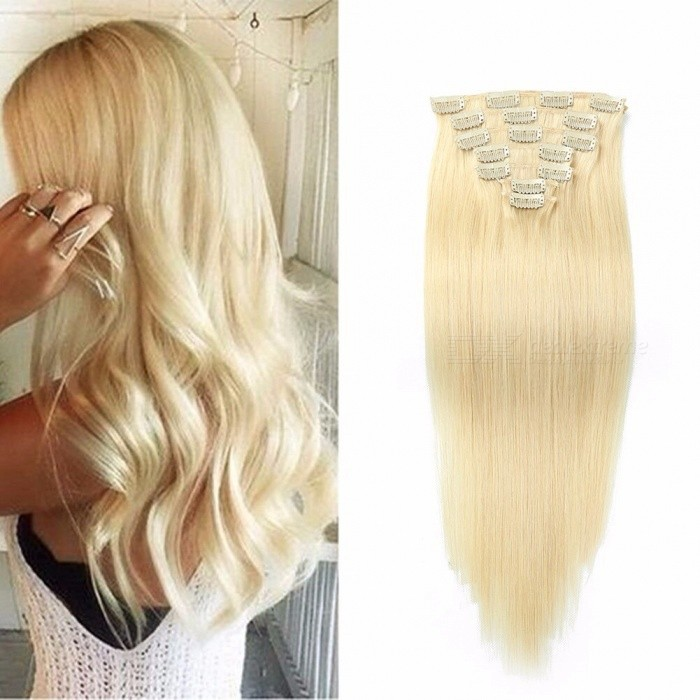 18 Inches 7pcsset Multi Color Clip In Straight Human Hair