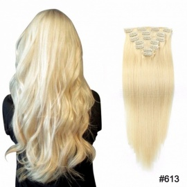 20 Inches 7PCS/Set Multi Color Clip In Straight Human Hair Extensions For Women Burg/20 inches