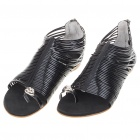 Ladies Women Casual PU Leather Roman Sandals Flats Shoes - Black (Size 39)