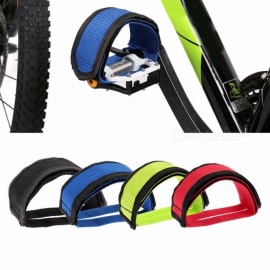 1Pair Bicycle Fixed Gear Cycling Pedals Bands Feet Set Velcro Nylon Straps, Cycling Bike Anti-slip Bicycle Pedals Belts Red