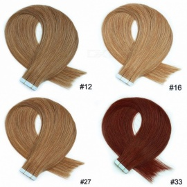 20PCS/Set 20 Inches Soft Straight Tape In Human Hair Extensions For Women 50g/Set #12/20 inches/20 pcs