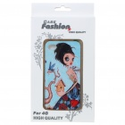 Fashion Back Case + Screen Guard + Cleaning Cloth Set for Iphone 4 - Pretty Girl Pattern