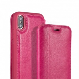 Measy Flip Case Cover with Stand Function & Credit Card Slot Wallet PU Leather Case for IPHONE X - Deep Pink