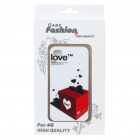 Fashion Back Case + Screen Guard + Cleaning Cloth Set for Iphone 4 - Love Box Pattern