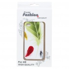 Fashion Back Case + Screen Guard + Cleaning Cloth Set for Iphone 4 - Colors Feathers Pattern