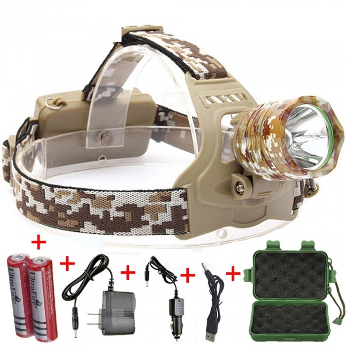 ESAMACT XML T6 LED Headlight 3-Mode Rechargeable Headlight Head Torch Lamp Camping Hunting With 18650 Battery - Camouflage - Free Shipping - DealExtreme