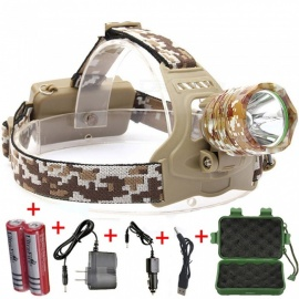 ESAMACT XML T6 LED lampe frontale à 3 modes lampe frontale lampe torche rechargeable camping chasse avec batterie 18650 - camouflage