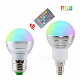 E27 3W RGB Color Light Bulb with Remote Control (85-265V)