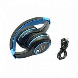 quelima auricolare Bluetooth stereo Bluetooth BS440, cuffia wireless estendibile pieghevole - blu
