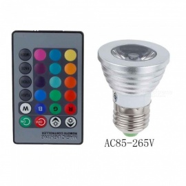 E27 3W RGB Color Light Spotlight with Remote Control (85-265V)