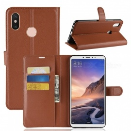 PU Leather Full Cover Wallet Phone Case for Xiaomi Max 3 - Brown