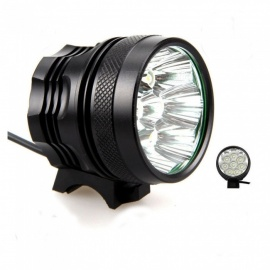 ZHAOYAO T6 7-LED Super Bright Bicycle Headlights Mountain Bike Light, US Plug Power Adapter