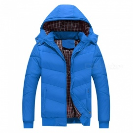 Fashion Winter Autumn Detachable Hooded Warm Jackets Coat - Blue (XL)