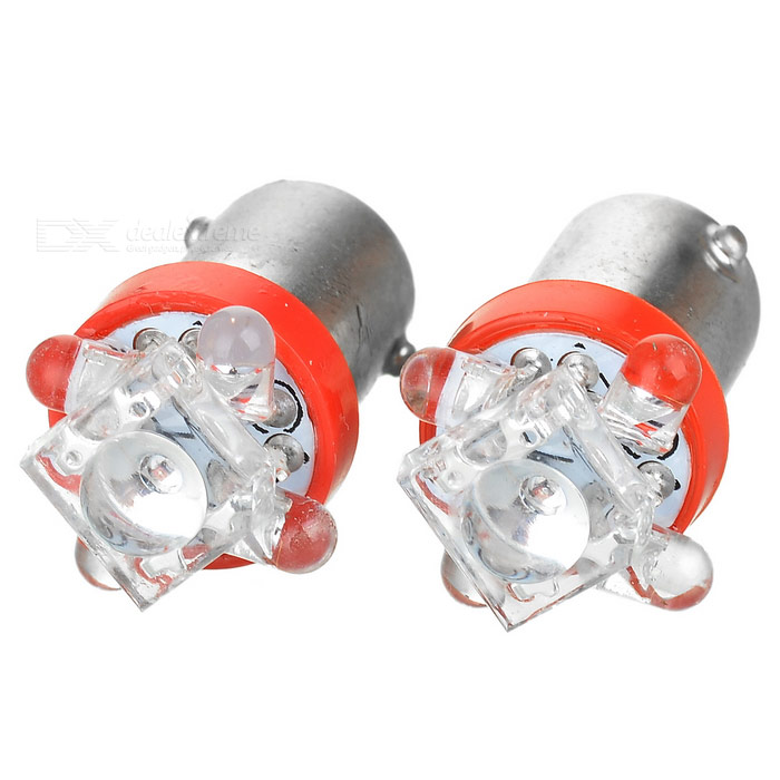 4-LED + 1 High Powered LED Vehicle Signal Lights 2-Pack (12V BA9S Red)