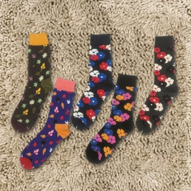 5 Pairs Stylish Leaves Sakura Print Multicolor Mens Socks, Casual Cotton Crew Socks For Men Contrast Color Multi