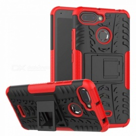 3D Relief Emboss Phone Cover Back Case with Holder for Xiaomi Redmi 6/6A - Red