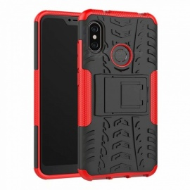 3D Relief Emboss Phone Cover Back Case with Holder for Xiaomi Redmi 6 Pro - Red