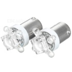 4-LED + 1 High Powered LED Vehicle Signal Lights 2-Pack (12V BA9S White)