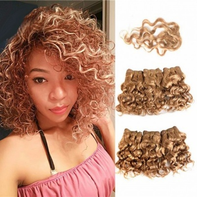 Brazilian Honey Blonde Afro Curly Wave Human Hair Bundles With Closure Short Human Hair Extensions 7 Pieces Set #27
