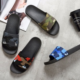 2018 Summer Men\'s Slippers Camouflage Embroider Skid Resistance Sandals For Men Black/39
