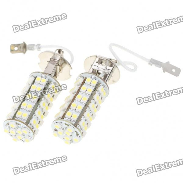 H3 3.5W 6500K 310-Lumen 68x3528 SMD LED White Fog Lights for Car (Pair/DC 12V) possbay car fog lights for bmw f10 f11 f18 5 series 2009 2013 yellow front lower daytime driving fog lamps car styling