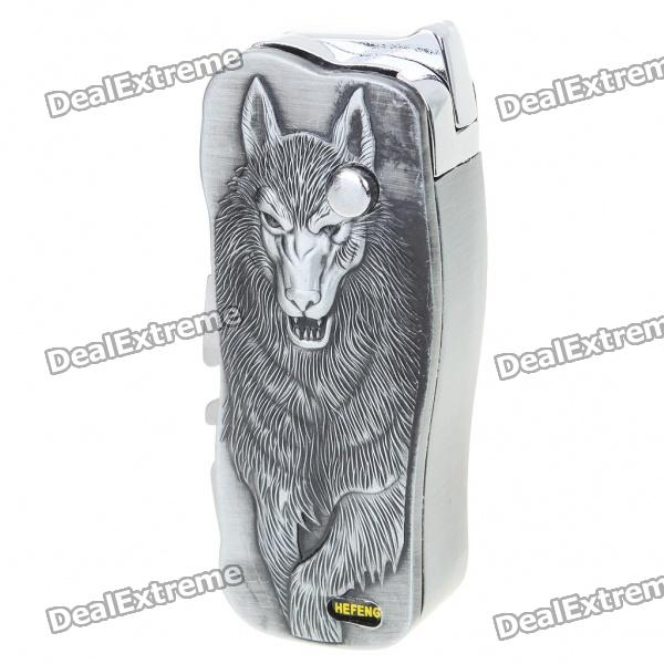 Wolf Pattern Butane Jet Torch Lighter with Folding Knife