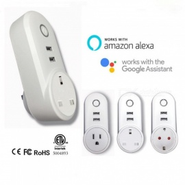 alexa voice wifi smart home switch uttag APP mobiltelefon telekontroll timing brittisk stickkontakt UK plug / white