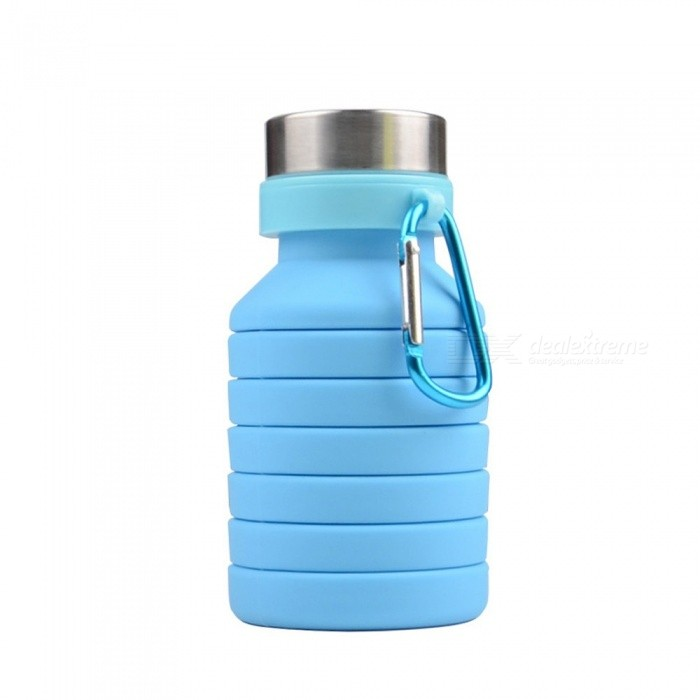 c3312f4c89 Collapsible Water Bottle Silicone Folding Reusable Gym Fitness Training Drink  Bottles- 550ml Leak Proof Eco-Friendly Sky Blue