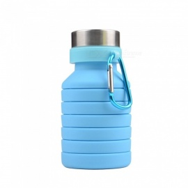 Collapsible Water Bottle Silicone Folding Reusable Gym Fitness Training Drink Bottles- 550ml Leak Proof Eco-Friendly Green